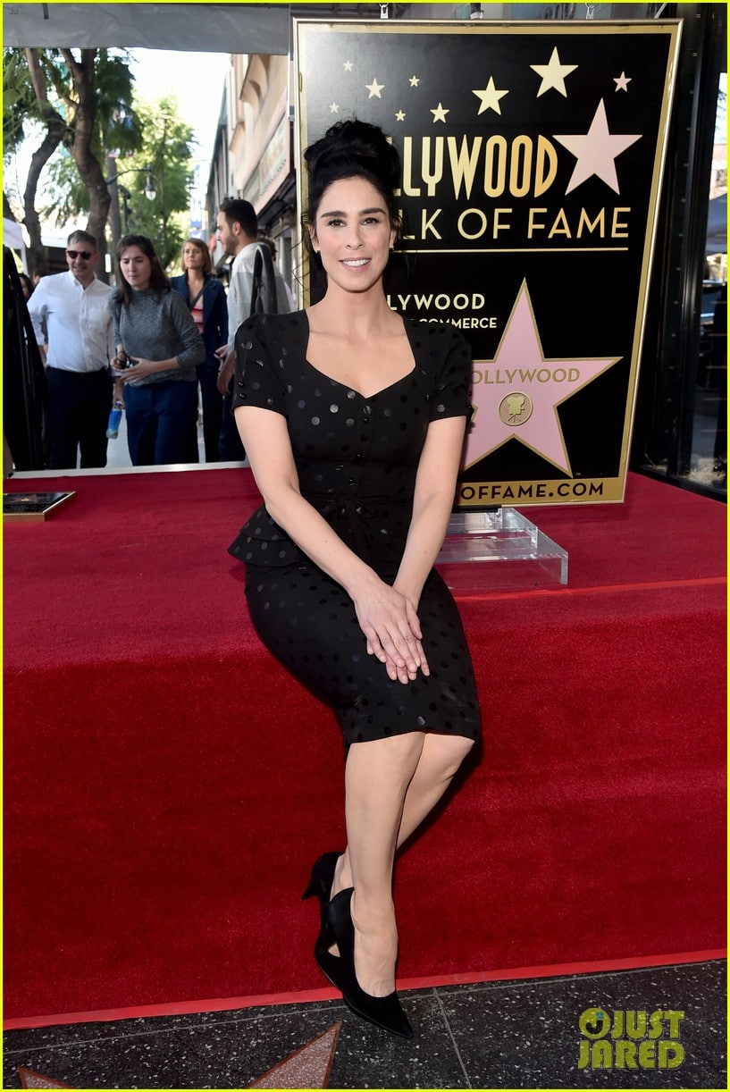 sarah-silverman-hollywood-walk-of-fame-ceremony-wearing a stop staring dress
